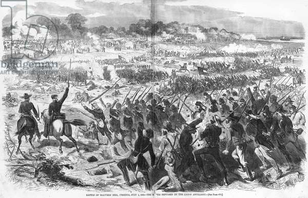 SEVEN DAYS' BATTLES, 1862 Confederate troops repulsed by Union artillery fire during the Battle of Malvern Hill, Virginia, 1 July 1862. Wood engraving from a contemporary American newspaper.