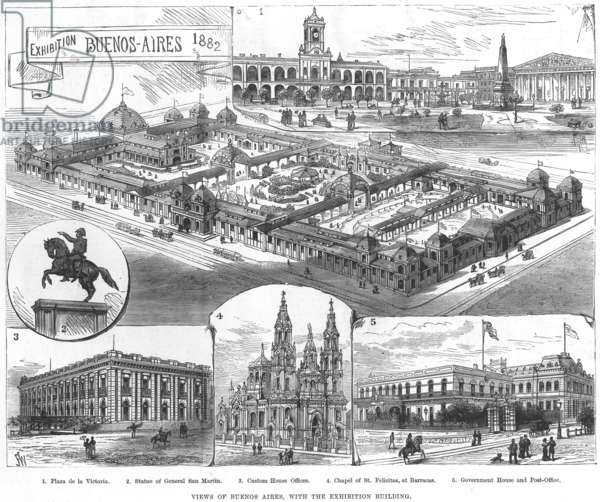 BUENOS AIRES, 1882 Views of Buenos Aires, Argentina: from an English newspaper, 1882.