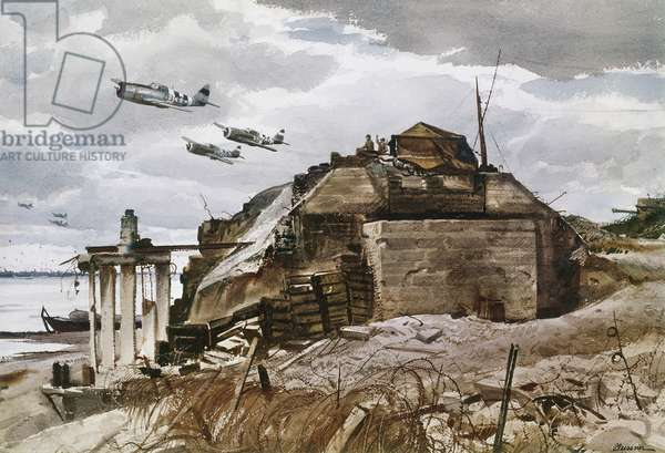 WORLD WAR II: NORMANDY U.S. Air Force Republic P-47 Thunderbolts flying over Omaha beach during the invasion of Normandy, 6 June 1944. Watercolor by Ogden Pleissner.