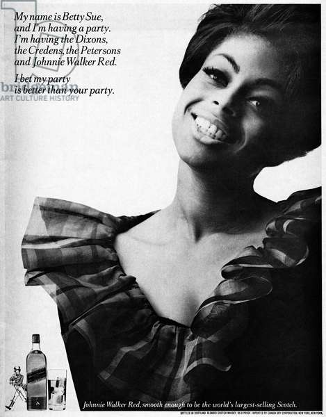 AD: WHISKEY, 1966 American advertisement for Johnnie Walker Red. Photograph, 1966.