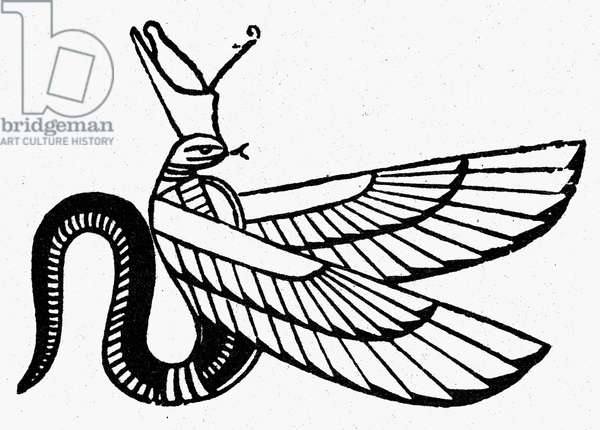 SYMBOL: WINGED SERPENT Ancient Egyptian symbol of evil. Line engraving.