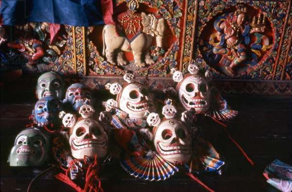 INDIA: MASKS, 1969 Deity and skeleton masks from Gangtok, Sikkim, India. Photograph by Alice Kendell, January 1969.