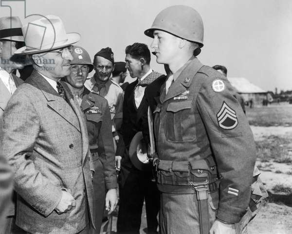 HARRY S. TRUMAN (1884-1972) 33rd President of the United States. Truman on an inspection of the Signal Corps, U.S. Army.