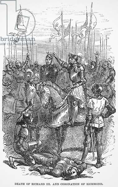 HENRY VII (1457-1509) King of England, 1485-1509. The defeat and death of King Richard III at the battle of Bosworth Field, 22 August 1485, by the Earl of Richmond, who was immediately acknowledged as King Henry VII. Line engraving, 19th century.