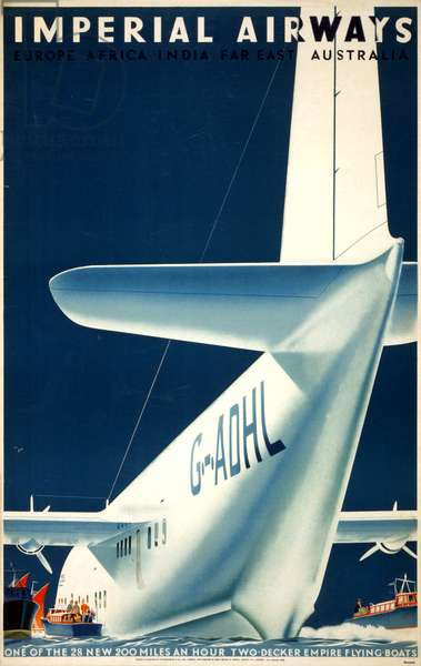 AIRLINE POSTER, 1936 British poster for Imperial Airways. Lithograph by Mark Severin, 1936.