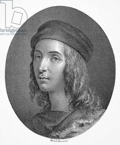 RAPHAEL (1483-1520) Italian painter. Steel engraving, Italian, 1820.
