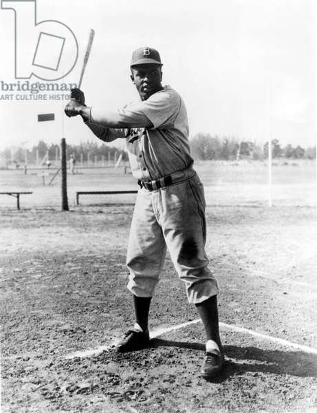 JACKIE ROBINSON (1919-1972) John Roosevelt Robinson, known as Jackie. American baseball player. Photographed while a member of the Brooklyn Dodgers, the team for which he played from 1947 to 1956.