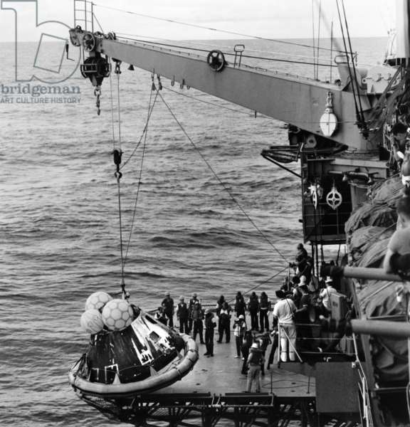 APOLLO 13: RECOVERY, 1970 Recovery of the Apollo 13 spacecraft aboard the USS Iwo Jima in the South Pacific Ocean. Photograph, 1970.