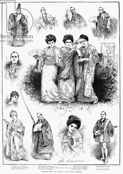 GILBERT & SULLIVAN: MIKADO Sketches from 'The Mikado,' Gilbert and Sullivan's new comic opera at the Savoy Theatre in London. Line engraving from an English newspaper of 1885.
