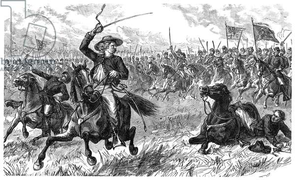 GEORGE CUSTER (1839-1876) American army officer. Leading a cavalry charge at the Battle of Aldie, Virginia, during the American Civil War, 17 June 1863: wood engraving, 19th century.