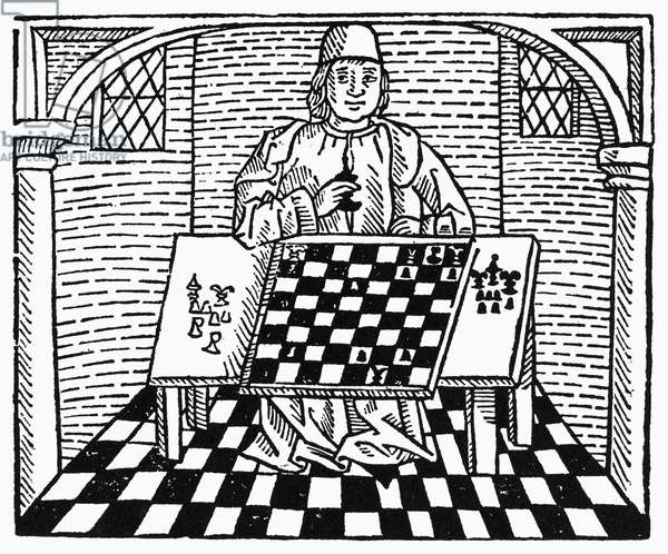 CESSOLIS: CHESS, c.1483 Woodcut from Jacobus de Cessolis' 'Game of Chesse,' printed at Westminster, England, c.1483.