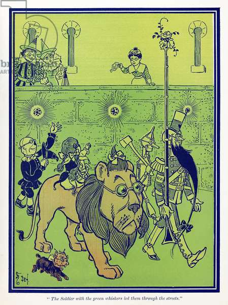 WIZARD OF OZ, 1900 'The Soldier with the green whiskers led them through the streets.' Illustration by W.W. Denslow for the first edition of 'The Wonderful Wizard of Oz' by L. Frank Baum, 1900.