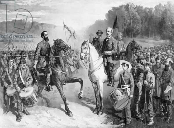 GENERALS LEE AND JACKSON. Last meeting of Generals Robert E. Lee and Stonewall Jackson, 1863. Lithograph, 1879, after a painting by J.G. Fay.