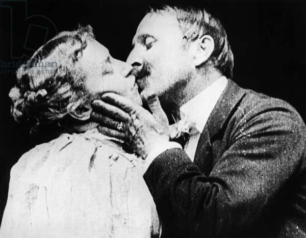 FILM: THE KISS, 1896 The first on-screen kiss, from Thomas Edison's short film 'The Kiss,' featuring May Irwin and John Rice, 1896.