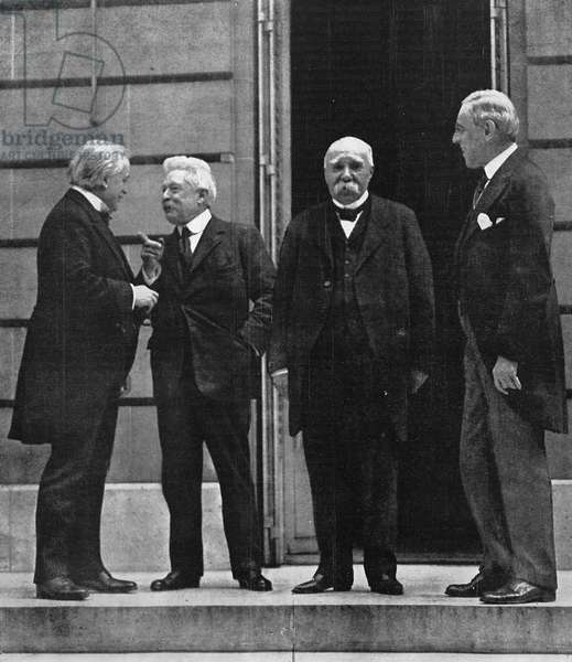 THE BIG FOUR, 1919 Prime Minister David Lloyd George, Prime Minister Vittorio Emanuele Orlando, Premier Georges Clemenceau and President Woodrow Wilson at the Versailles Palace during the Treaty negotiations. Photographed by the U.S. Army Signal Corps, June 1919.