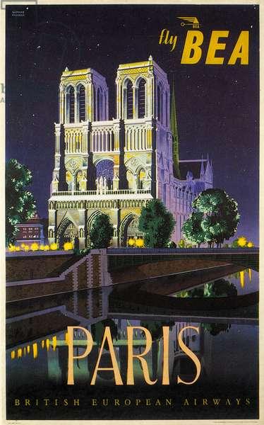 BRITISH EUROPEAN AIRWAYS A British European Airways poster from 1953 advertising flights to Paris.