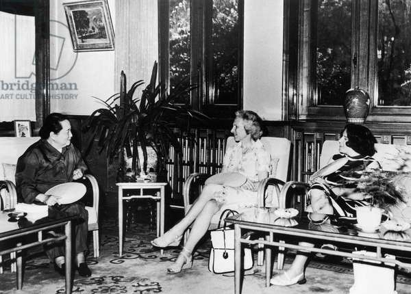 BARBARA TUCHMAN (1912-1989) American author and historian. Tuchman (center) in China with Madame Sun Yat-Sen, Soong Ching-Ling (far left). Photographed c.1970.
