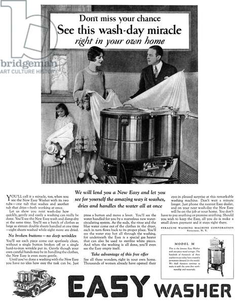 AD: WASHING MACHINE, 1927 American advertisement for Easy Washer, manufactured by the Syracuse Washing Machine Corporation, 1927.
