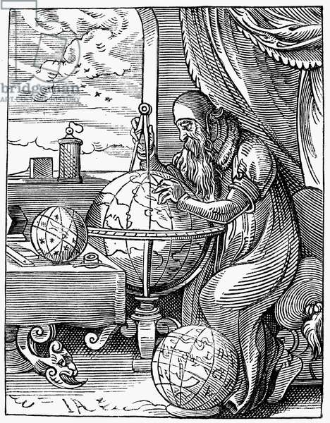 ASTRONOMER, 16th CENTURY An astronomer and cosmographer. Line engraving after a 16th century woodcut by Jost Amman.