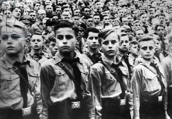 HITLER YOUTH, 1938 Boys of the Hitler Youth at a Nazi party rally in Nuremberg, 1938. Photograph by Heinrich Hoffmann.