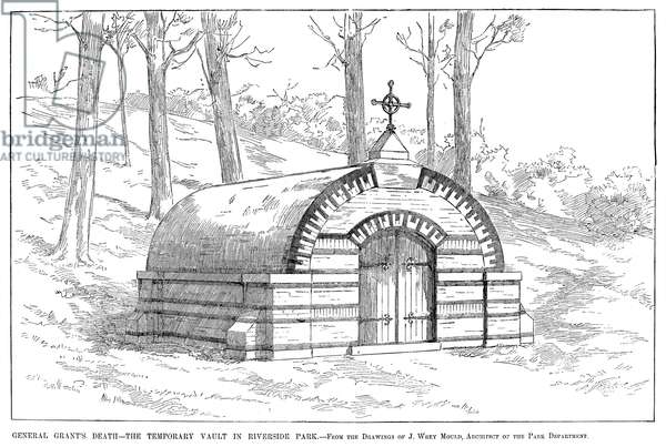 GRANT'S TOMB, 1885 The temporary tomb of Ulysses S. Grant in Riverside Park in New York City. Engraving, American, 1885.