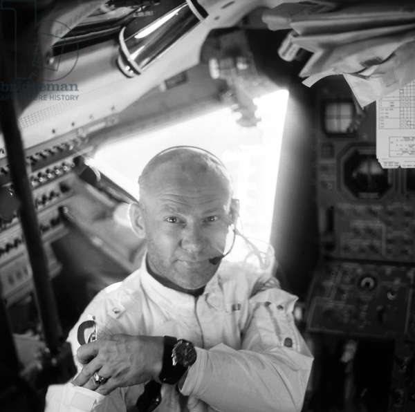 EDWIN 'BUZZ' ALDRIN (1930-) Edwin 'Buzz' Aldrin. American astronaut. Photographed by fellow astronaut Neil Armstrong inside the Lunar Module during the Apollo 11 lunar mission, July 1969.