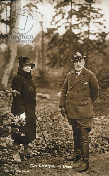 EMPEROR WILHELM II (1859-1941). The last German Emperor, forced to abdicate at the end of World War II. Wilhelm and his second wife, Princess Hermine Reuss of Greiz, in exile at their manor house in Doorn, the Netherlands. Photograph, c.1922.