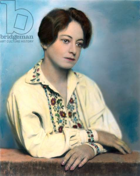 DOROTHY PARKER (1893-1967) American writer: oil over a photograph, 1928.