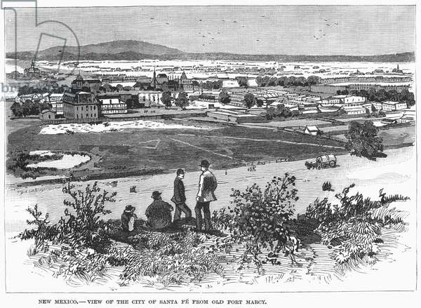 SANTA FE, 1883 The town of Santa Fe, New Mexico, seen from old Fort Macy. Wood engraving, American, 1883.