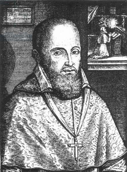 ST. FRANCIS OF SALES (1567-1622). Savoyard nobleman and ecclesiastic. Line engraving, 17th century.