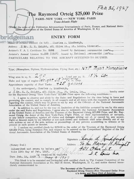 CHARLES A. LINDBERGH (1902-1974). American aviator. Lindbergh's entry form for the Raymond Orteig ,000 Prize Flight, 1927.