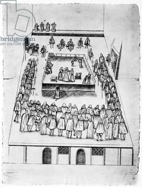 MARY, QUEEN OF SCOTS (1542-1587). Mary Stuart, Queen of Scotland, 1542-1567. The execution of Mary, Queen of Scots. Pen and ink sketch of the arrangements made for the execution at Fotheringhay Castle, 8 February 1587. The sketch depicts three stages of the procedure: the entry of the Queen by the door on the left, her preparation and her execution.