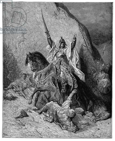 SALADIN (1138-1193) Sultan of Egypt and Syria. Wood engraving after Gustave Dore.