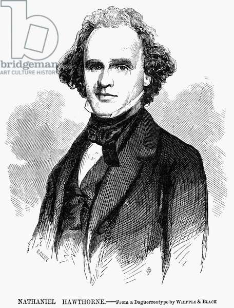 NATHANIEL HAWTHORNE (1804-1864). American writer. Wood engraving after a daguerreotype, 1855.