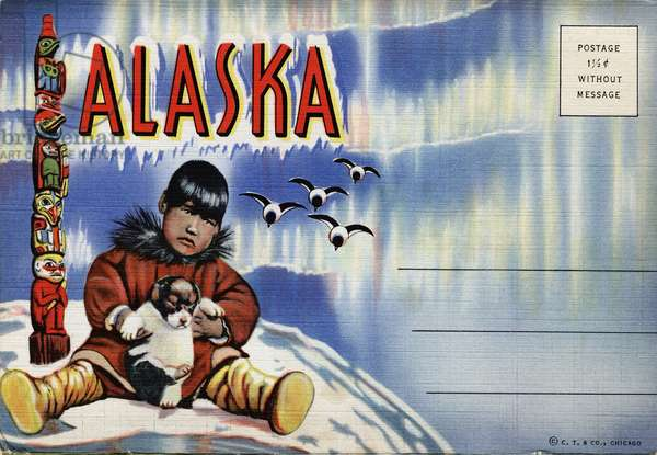 POSTCARD: ALASKA, c.1938 Cover for a pack of postcards from Alaska, c.1938.
