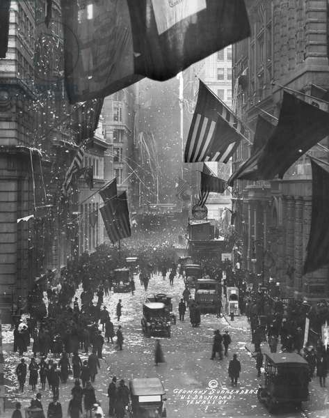 WWI: ARMISTICE, 1918 Celebrations on Wall Street in New York City, following the Armistice with Germany after World War I. Photograph, 1918.