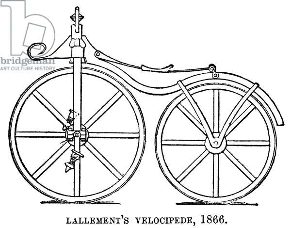 VELOCIPEDE, 1866 Pierre Lallement's velocipede of 1866. Contemporary line engraving.