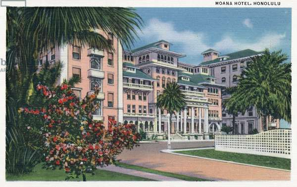 HAWAII: MOANA HOTEL, 1935 The Moana Hotel on Waikiki Beach in Honolulu, Hawaii. Postcard, American, 1935.