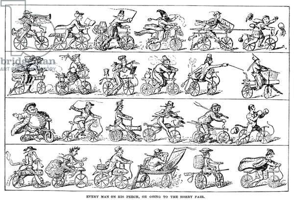 CRUISHANK: VELOCIPEDE 'Every Man on his Perch, or Going to the Hobby Fair.' English cartoon, 1819, by George Cruikshank's on the velociped mania.
