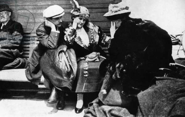 TITANIC: RESCUED, 1912 Rescued 'Titanic' passengers aboard the 'Carpathia,' Mr. George A. Harder, who was the only man saved of 11 honeymoon couples; Mrs. Harder; and Mrs. Charles M. Hays, whose husband was lost.