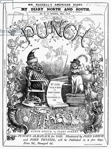 PUNCH' FRONT PAGE, 1862 The front page of the satirical English magazine 'Punch,' 13 December 1862.