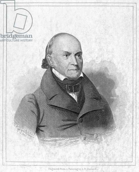 JOHN QUINCY ADAMS (1767-1848). Sixth President of the United States. Steel engraving, 19th century, after a painting by Asher Durand.