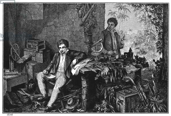 ALEXANDER VON HUMBOLDT (1769-1859). German naturalist. Humboldt (left) and Aimé Bonpland on the Orinoco River in South America in 1799. Line engraving, 19th century, after a painting by Eduard Ender.