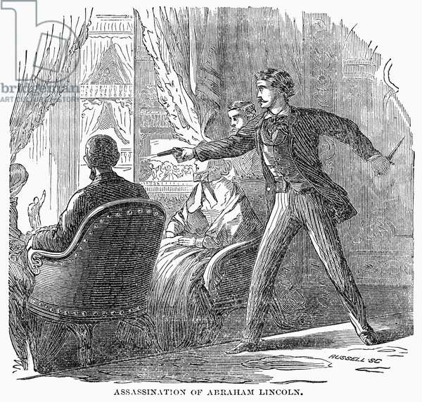 LINCOLN: ASSASSINATION The assassination of Abraham Lincoln by John Wilkes Booth at Ford's Theatre, Washington D.C., on 14 April 1865. Wood engraving, 19th century.