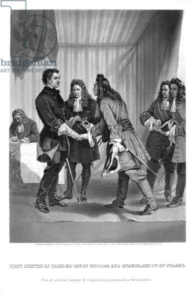 CHARLES XII AND STANISLAS I The first meeting of Charles XII (1682-1718), King of Sweden (1697-1718), at left, and Stanislas I (1677-1766), King of Poland (1704-1709, 1733-1735). Steel engraving, American, 1869, after a painting by Alonzo Chappel.