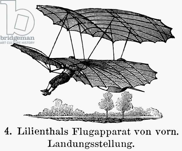 LILIENTHAL GLIDER, 1895 One of Otto Lilienthal's early glider flights. Line engraving, German, late 19th century.