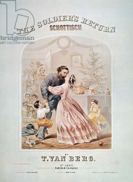 CIVIL WAR: SONGSHEET 'The Soldier's Return Schottisch.' American Civil War sheet music cover, lithograph, published in St. Louis, 1864.