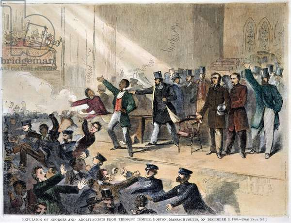 FREDERICK DOUGLASS, 1860 Speaking while a Boston mob and the police break up an abolitionist meeting in Tremont Temple, Dec. 3, 1860, commemorating John Brown's execution. Contemporary engraving.