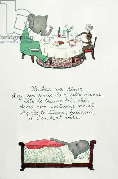 BABAR THE ELEPHANT Illustration by Jean de Brunhoff for one of his Babar books, 1930s.