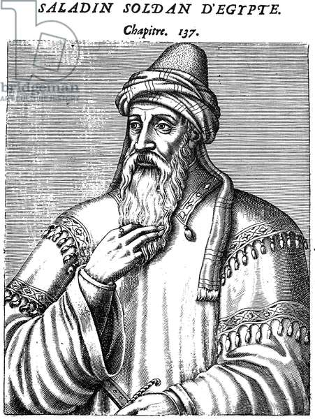 SALADIN (1138-1193) Sultan of Egypt and Syria. Woodcut, French, 1584.